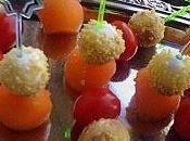Mini brochettes mozzarella melon tomates cerise