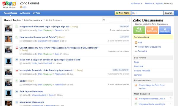 zoho discussions 1 Zoho lance une application de forum de discussion
