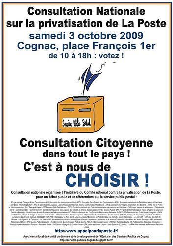 Consultation citoyenne sur la privatisation de la poste à Cognac