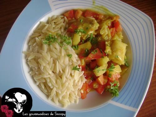 wok de poisson au curry et ananas