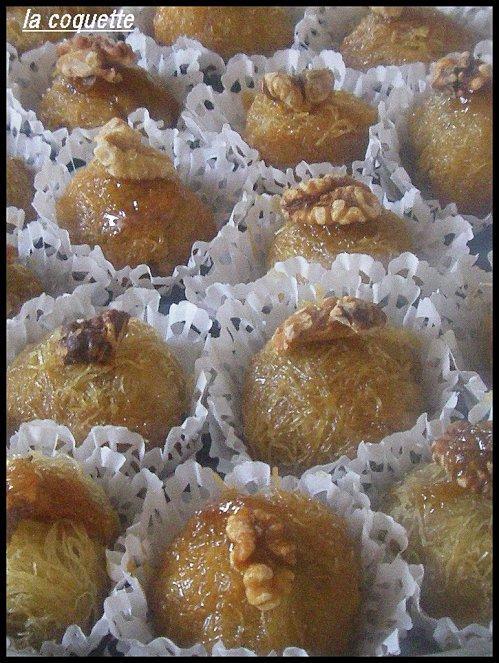 Les boules de ktaifs aux noix.