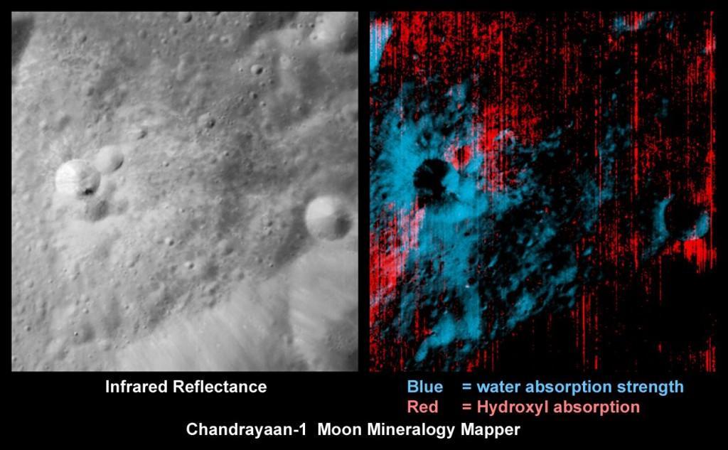 Présence d'eau et d'hydroxyl à la surface de la Lune