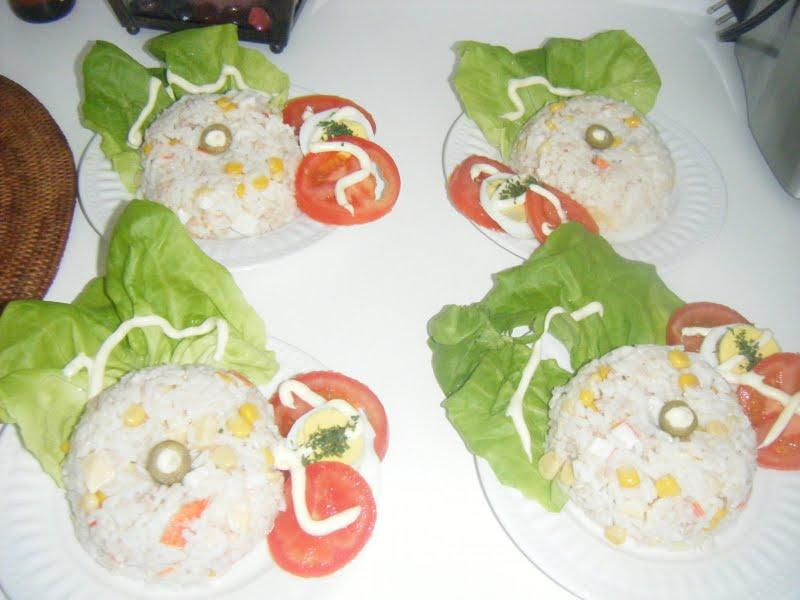 Salade de riz, au crabe, au mais etc.. et Blog Chalixanora