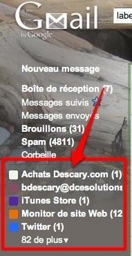 mail libelles 2 Gmail: affichez les libellés contenant des messages non lus
