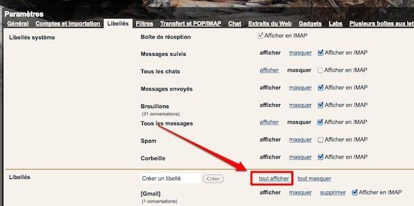 gmail libelles 3 Gmail: affichez les libellés contenant des messages non lus