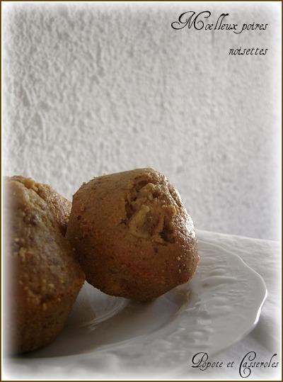 Moelleux aux poires et à la poudre de noisettes