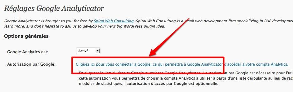 google analyticator 2 Wordpress: ajoutez un widget Google Analytics sur le tableau de bord