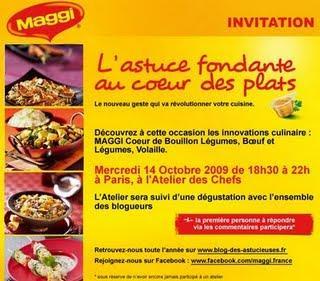 Nouilles le dimanche pas de restes pour lundi ! et petite invitation au prochain atelier Maggi.