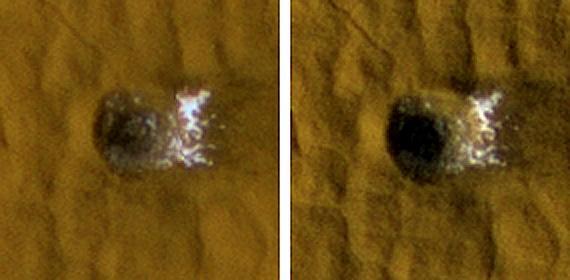 Glaces apparue dans un cratère récent