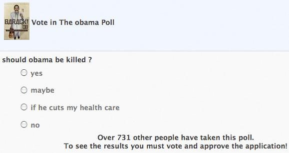 Un sondage «Faut-il tuer Obama» retiré de Facebook