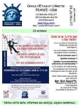 Table Ronde le 23 Octobre du cercle d'amitié France/USA: Depuis un an, la crise...Où en sommes nous? Quelles analyses ...?