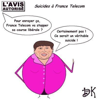 Tags : suicides, France Telecom, Orange, Didier Lombard, gouvernement, Roselyne Bachelot pas nue, course libérale, l'avis autorisé, dessin humoristique, gag politique, humour, image, caricature, parodie, joke, drôle