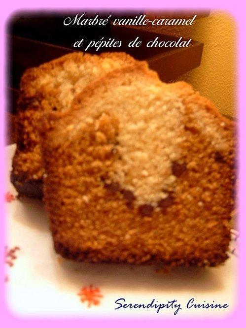 Marbré vanille-caramel et pépites de chocolat