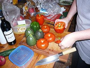 Tomates farcies, et courgettes farcies, et poivrons farcis