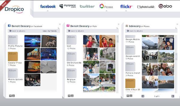 dropico Dropico: copiez et déplacez vos photos dun réseau social à lautre