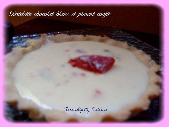 Tartelettes au chocolat blanc et piments confits