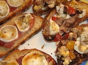 Brunchetta thon-œuf-olives noires chèvre-jambon