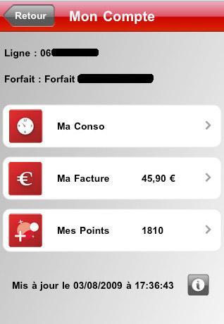 iphone  Application SFR mon compte