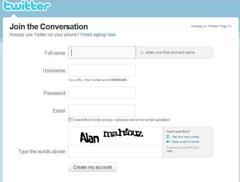 Creer compte twitter