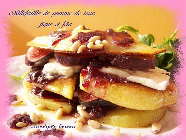 Millefeuille de pomme de terre, figue et feta