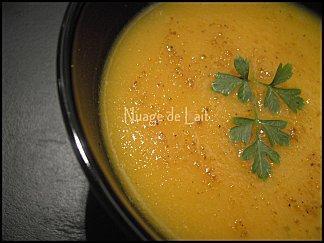 Velouté de Potiron, Carottes et Curry (sans matière grasse)