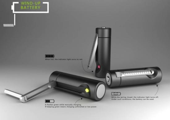 pile dynamo La pile rechargeable ecolo avec une manivelle dynamo