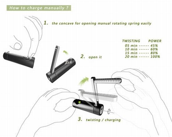 pile dynamo 2 La pile rechargeable ecolo avec une manivelle dynamo