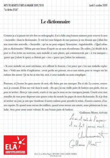 Guillaume Musso rédige la dictée que Pagny lit à Luc Chatel