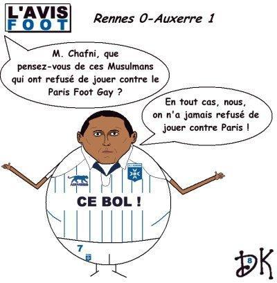 Tags : Kamel Chafni, Paris foot Gay, Créteil Bebel, musulmans pratiquants, homosexuels, homophobie, AJA, Auxerre, Football, Ligue 1, match, championnat, boycott, ballon, dessin humour, gag, drôle, parodie,c aricature, joke
