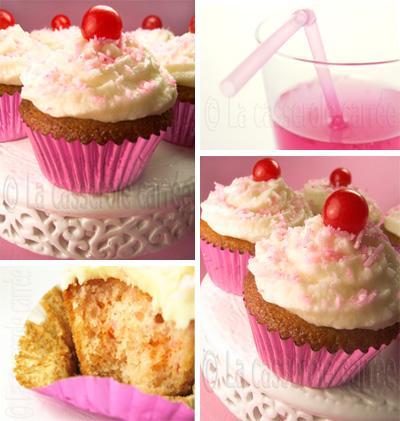 Cupcakes à la limonade rose, glacés à la noix de coco