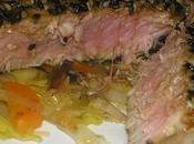 Filet thon rouge croûte sésame légumes