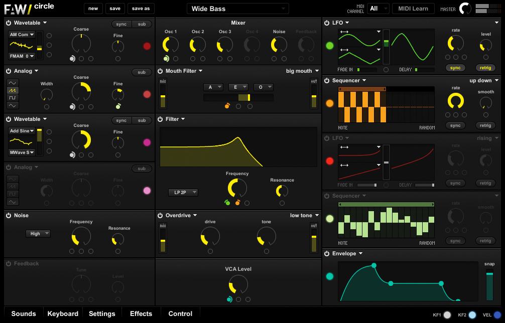 Interface utilisateur du synthétiseur virtuel Circle