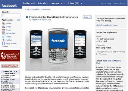 installer l'application facebook blackberry