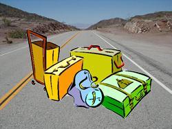 route vacance depart longue absence arrose bagage valise sac dos roulettes gallerie gallery remorque caravane camping-car avion bateau croisiere chemin pied randonne