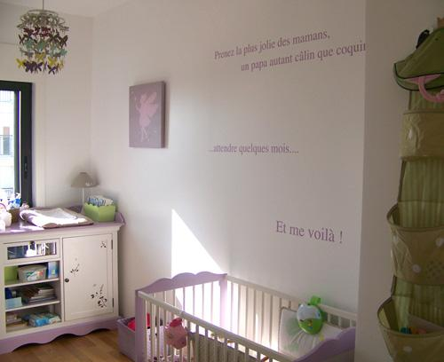 Simple Chambre De Naissance : Sticker phrase de naissance posé dans la chambre léane