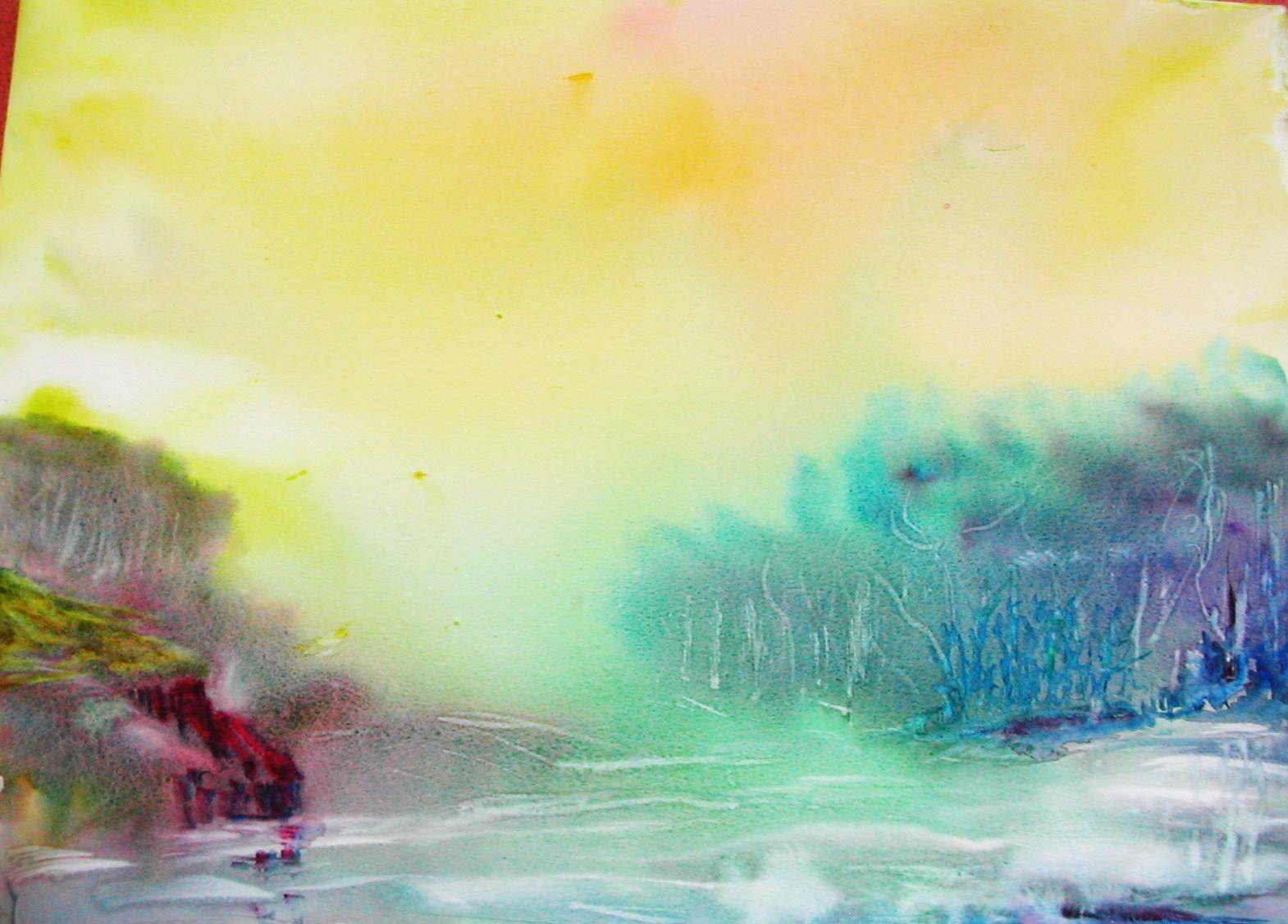 Paysage Avec Des Crayons Aquarellables Groupe Sister