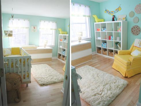 Chambre d enfant jaune et bleu voir for Chambre d enfant bleu