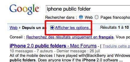 google afficher les options 4 Google: utilisez vous la fonctionnalité Afficher les options ?