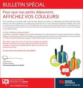 La Banque Nationale s'associe au Club des petits déjeuners du Québec pour une campagne de financement