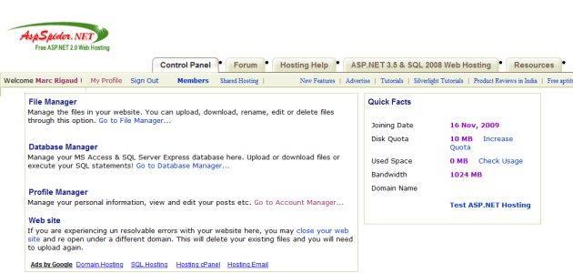 hebergement asp.net et ms sql gratuit