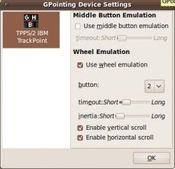 gpointing device settings