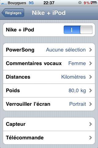 Paramètre Nike + iPod activés