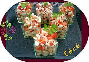 Verrines haricots blanc et chair de crabe
