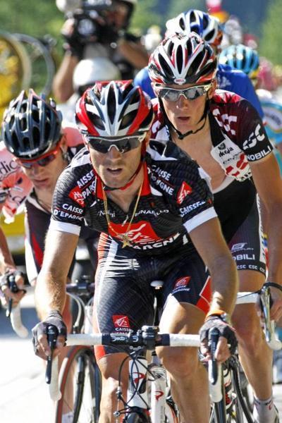 El ciclista español Alejandro Valverde, del equipo Caisse D'Epargne, durante la octava etapa del Tour de Francia entre Le Grand Bornand y la estación de esquí de Tignes. Rasmussen fue el ganador de la etapa - REUTERS - 15/07/2007