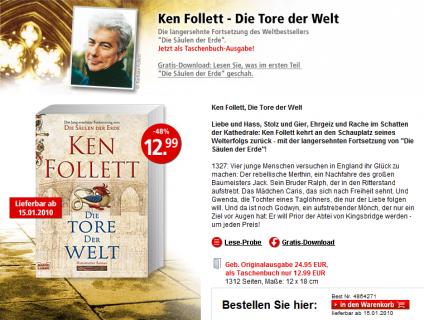 Expérimentation en Allemagne : Ken Follett en exclusivité sur ebook