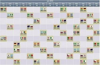 Calendrier Coupe du Monde 2010
