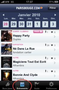 Sortir à Paris avec ParisBouge.com sur iPhone
