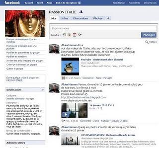 La Passion de Venise et de l'Italie sur Facebook