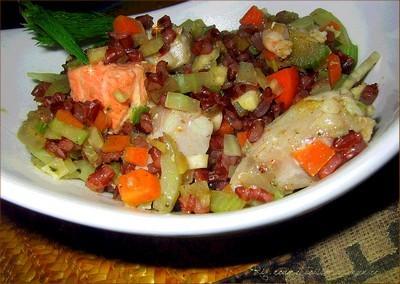 riz rouge et poisson au gingembre
