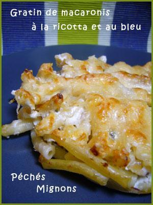 Bleu, Facile, Fromage, Parmesan, Pâtes, Rapide, Ricotta, Gratin,